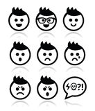 Man or boy with spiky hair faces icons set Stock Images
