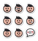 Man or boy with spiky hair faces icons set vector illustration