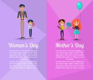 Happy People with Gifts on Mothers and Womens Day. Man with boy stands and holds two bouquets of tulips, pretty child gives blue flowers and presents to little Royalty Free Stock Images