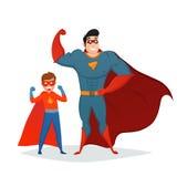 Man And Boy Superheroes Retro Composition Stock Photos