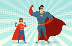Man And Boy Superheroes Retro Illustration Royalty Free Stock Images