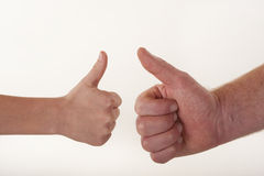 Man and boy thumbs up Stock Image
