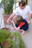 A man with a boy watering flowers royalty free stock photography