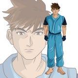 Man boy anime comic design. Man boy young anime manga comic cartoon fight game icon. Colorful design. Vector illustration Stock Image