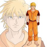 Man boy anime comic design. Man boy young anime manga comic cartoon fight game icon. Colorful design. Vector illustration Stock Photography
