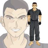 Man boy anime comic design. Man boy young anime manga comic cartoon fight game icon. Colorful design. Vector illustration Royalty Free Stock Images