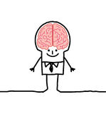Man & brain. Vector hand-drawn characters on line Stock Photos