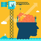 Man with brain puzzle. Creative concept background. Puzzle and create build, crane and head, businessman and conceptual, imagination. Vector illustration Stock Photos
