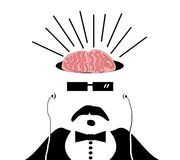 Man with brains exposed. Listening to music on earphones royalty free illustration