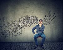 Man brainstorming getting his thoughts together planning making conclusions royalty free stock photo