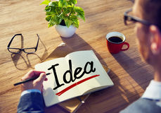 Man Brainstorming about Idea Concept.  Royalty Free Stock Image