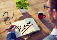 A Man Brainstorming about Passion Concept.  Stock Images