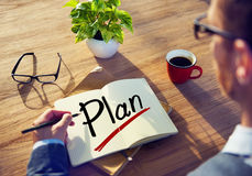 Man Brainstorming about Plan Concept.  Stock Photography