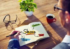 Man Brainstorming about Share Concept.  Stock Image