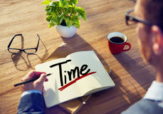 A Man Brainstorming about Time.  Royalty Free Stock Image