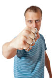 Man with brass knuckles. Photo shot of man with brass knuckles Royalty Free Stock Images