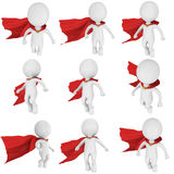 Man brave superhero with red cloak fly. Above set. Isolated on white 3d render. Flying, power, freedom concept collection Royalty Free Stock Photo
