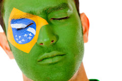 Man with Brazil flag Stock Photos