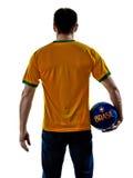 Man Brazilian Brazil holding soccer ball Stock Images
