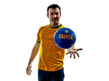 Man Brazilian Brazil throwing giving soccer ball Royalty Free Stock Images