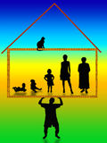 Man- breadwinner and handhold to whole families. Man keeps on their own shoulder house and preserveт family Stock Photo