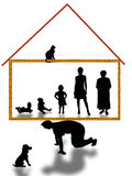 Man- breadwinner and handhold to whole families. Man keeps on their own shoulder house and preserveт family Stock Images