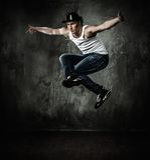 Man break-dancing Stock Photography
