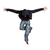 Man break dancing isolated on white background. Young man break dancing isolated on white background royalty free stock images