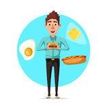 Man breakfast or fast food lunch vector flat icon Stock Image