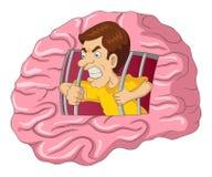 Man breaking free from brain. Cartoon illustration of a man breaking free from brain royalty free illustration