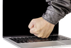 Man breaking laptop computer technology on white background Stock Photo