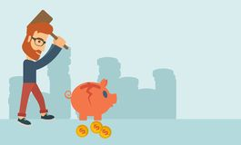 Man breaking piggy bank Stock Images