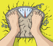 Man breaking the scale royalty free illustration