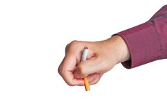 Man breaks a cigarette Stock Image