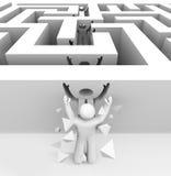 Man Breaks Through Maze. A man runs through a maze and breaks through into freedom vector illustration