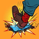Man breaks the phone with his foot. Comic cartoon pop art retro vector illustration drawing vector illustration