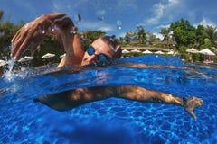 Man breath while swim Stock Photography