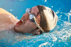 Man breath while swim Stock Images