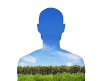Man breathing clean air. Silhouette of a young mans portrait breathing clean air with his lungs vector illustration