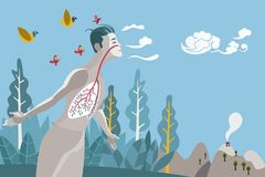 Man Breathing Healthily. Man breathing in a natural and healthy environment. His lungs are branches and leaves of a tree, metaphor of a healthy life stock illustration