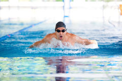 Man breathing while swimming Royalty Free Stock Images