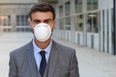 Man with breathing system problems because of the pollution Royalty Free Stock Images