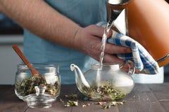 Man brews herbal tea in a kettle Royalty Free Stock Photo
