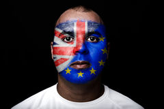 Man Brexit face flag Royalty Free Stock Image