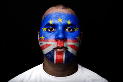 Man Brexit face flag Royalty Free Stock Images