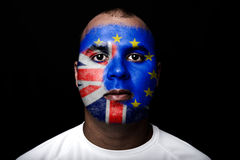 Man Brexit face flag Stock Photo