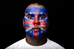 Man Brexit face flag Stock Image
