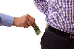 Man bribing another man with money Stock Images