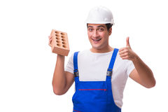 The man with brick isolated on white Royalty Free Stock Photo