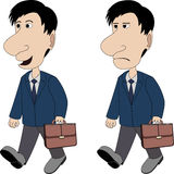 A man with a briefcase. Is walking in good and bad mood Royalty Free Stock Images
